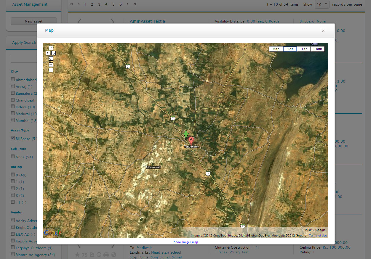 The above screenshot displays popup window that displays the location of the asset on the Google maps, implemented with Google Maps API.