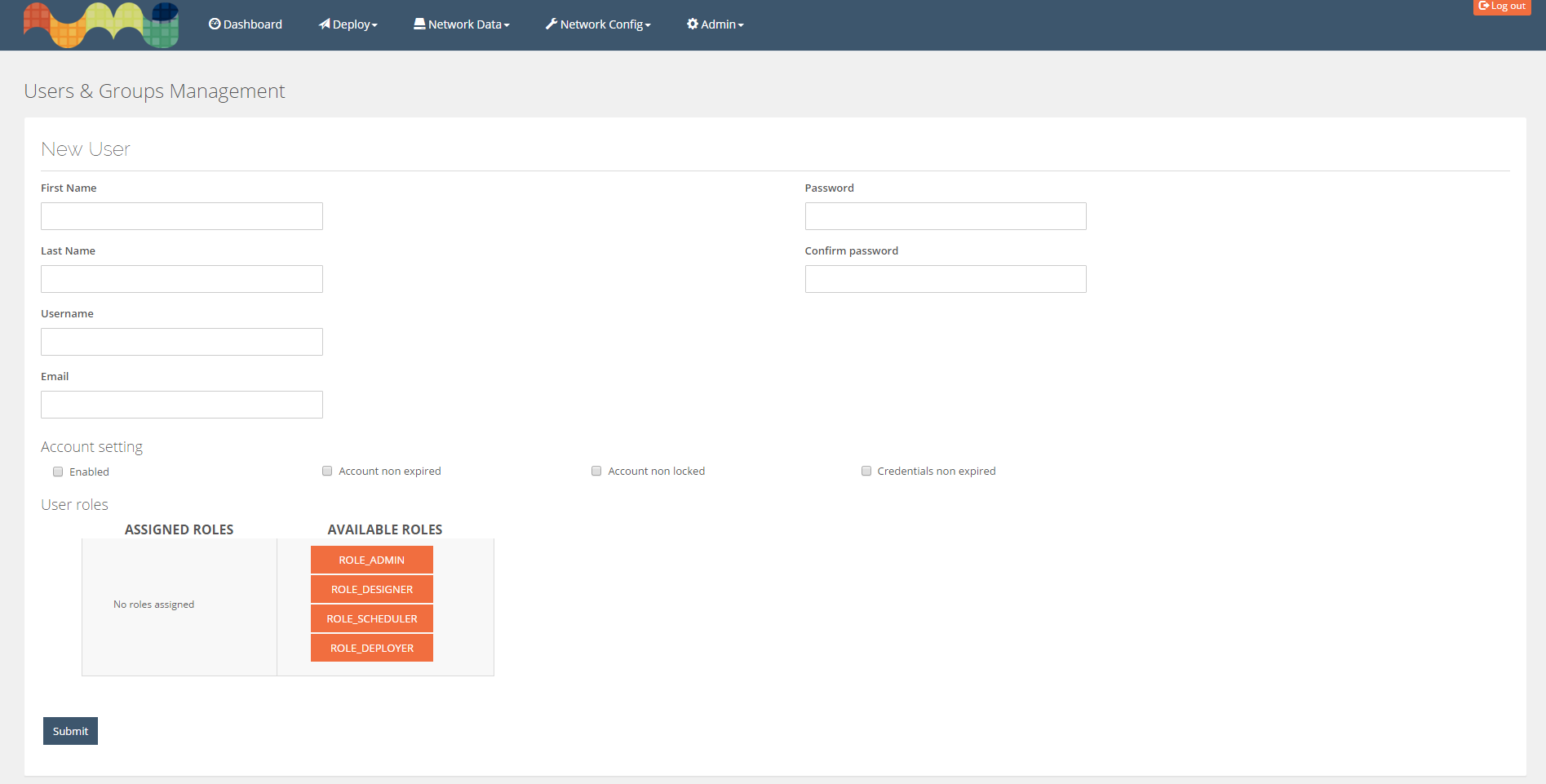 Edit/Insert User page. Ability to modify all user attributes. Drag'n'drop role management.