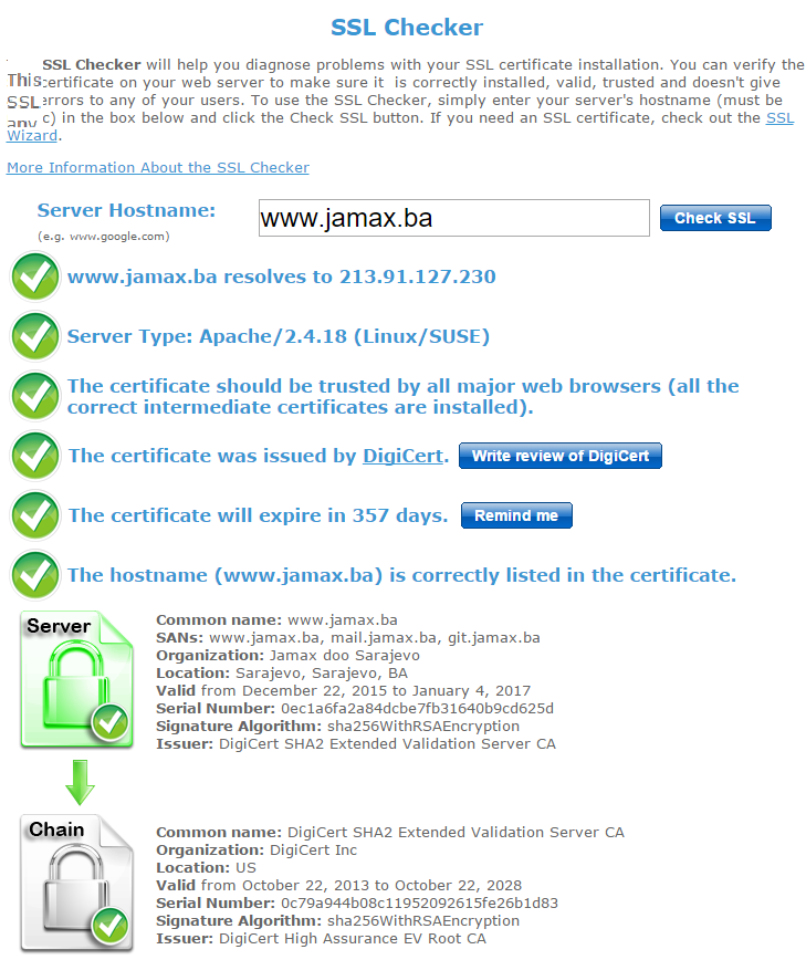 Jamax Certified with Extended Validation SSL Certificate